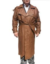 Dress Coat Real Genuine Leather Brown Long Trench Coat ~ Overcoat