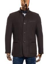 Mens Brown Button Up Closure Mandarin Collar Long Wool Coat