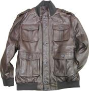 Brown safari/military inspired bomber with bellowed pockets & knit collar/cuffs tanners