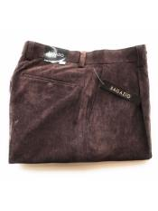 Mens Mini Corduroy Single Pleated Pants Brown