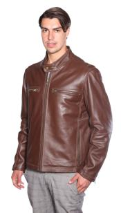 Moto Genuine Leather Jacket Brown Available in Big and Tall