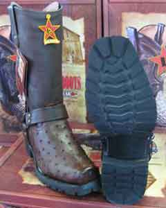 Altos Brown Genuine Ostrich Motorcycle Biker Western Cowboy Boot