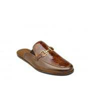 Slip On Brandy ~ Antique Brown Genuine Ostrich & Italian Calfskin Half Shoes