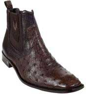 Mens Short Boots Mens Genuine Brown Full Quill Ostrich Dressy Boot Ankle