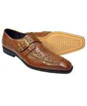 Mens Brown Genuine Ostrich Monk Strap Leather Shoes - Mens Buckle Dress