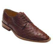 Brown Genuine Ostrich Lace-Up