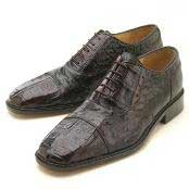 Dark Brown Croc/Ostrich Authentic Genuine Skin Italian Lace-Up Oxford Dress Shoe