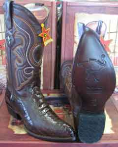 Brown-Ostrich-Skin-Western-Boot