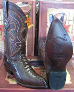 Altos Boots Brown Genuine Ostrich Leg Western Cowboy Dress Cowboy Boot