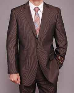 Brown Micro-Stripe ~ Pinstripe 2-button 2 Piece Suits - Two piece