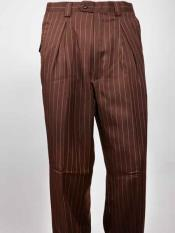 Wide Leg Pleated Brown Pinstripe Pant unhemmed unfinished bottom Mens Wide