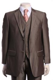 Regular Cut Regular Fit Vested Suit Light Toast ~Brown ~ Mocha With sheen Sharkskin 2 Button 3