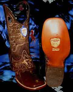 West Genuine Ostrich Leg Square Brown Rodeo Western Cowboy Boot