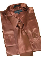 Cheap Priced Sale Satin Brown Dress Shirt Combinations Set Tie Hanky