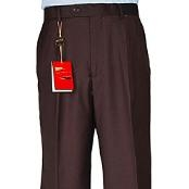 Brown Single-pleat Wool Dress Pants unhemmed unfinished bottom - Cheap Priced Dress Slacks For Men On Sale