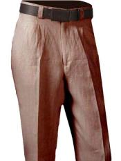 100% Linen Dress Casual Slacks Mens Single Pleated Pant Brown