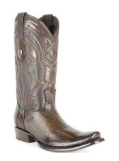Wild West Dubai Square Toe Genuine Teju Lizard Leather Boots Burnished