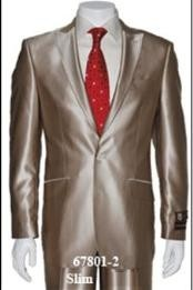 Champagne Suit Shiny Sharkskin Flashy Tan~champagne ~ beige~Taupe 2 Button Style Jacket