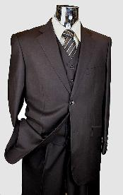 Brown 3 Piece 2 Button Italian Designer Suit - Three Piece