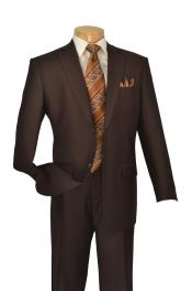 Brown 2 Button Mens Suits 2 Piece Italian Cut