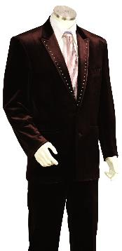 Brown Velvet ~ Velour Fashion Unique Tuxedo Looking Suit