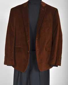 Mens Velvet Sport Coat- Brown