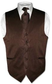 Dress Vest & NeckTie Chocolate Brown Striped Vertical Stripes Design Set