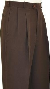 Chocolate Brown Wide Leg Slacks Pleated