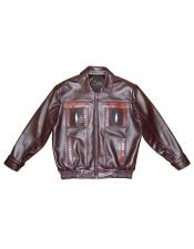 - 2070 Brown Zipper Closure Lamb Skin/Stingray/Caiman Jacket