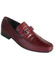 Altos Mens Stylish Maroon Dress Shoe ~ Burgundy Dress Shoe ~ Wine Color Dress Shoe Genuine Caiman