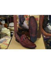 Mens Loafers and Slip On Genuine Crocodile Los Altos Burgundy ~ Wine ~ Maroon Color Shoes