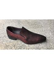 Mens Burgundy ~ Wine ~ Maroon Color Tiger pattern Genuine Suede