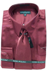 Cheap Priced Sale Mens New Wine/Burgundy ~ Maroon ~ Wine Color Satin Dress Shirt Tie Combinations Set