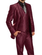 Mens Maroon 2 Button  3 Piece Suit