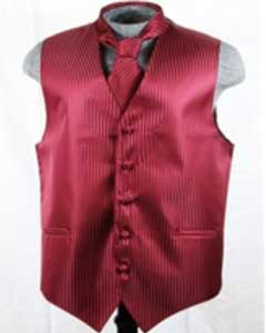 Dress Tuxedo Wedding Vest ~ Waistcoat ~ Waist coat Tie Set Burgundy ~ Maroon ~ Wine Color