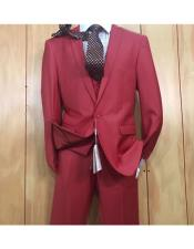 Mens 1 button style Peak Lapel Vested Slim fitted Burgundy ~ Wine