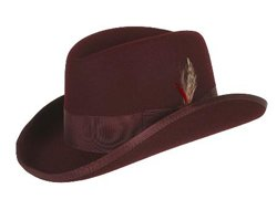 NEW MENS Burgundy ~ Maroon ~ Wine Color 100% Wool Homburg