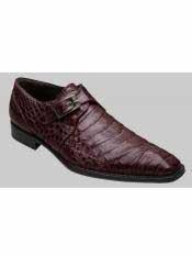 Brand Burgundy Genuine Crocodile Monk Strap Shoes