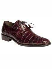 Brand Burgundy Genuine Crocodile Wrapped Tassel Shoes