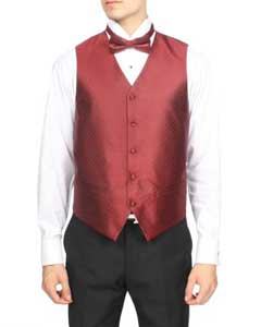 Mens Burgundy ~ Maroon ~ Wine Color Red Diamond Pattern 4-Piece Vest Set Also available in Big