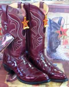 Altos Burgundy ~ Maroon ~ Wine Color Genuine Eel Western Cowboy Boot ~ botines para hombre(D)