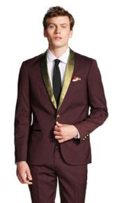 ~ Wine ~ Maroon Color And Gold Tuxedo Wool Suit For Men