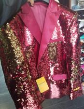 Mens Burgundy ~ Wine ~ Maroon Color & Gold Sequin Shiny Paisley Looking Tuxedo Dinner Jacket Prom