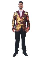 Mens Shiny 2 Button Burgundy ~ Wine ~ Maroon Color~Gold Single Breasted Blazer~Sport Coat Sequin Fashion Dinner