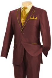Burgundy ~ Wine ~ Maroon Color & Gold Tuxedo Suit