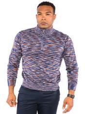 Mens Half Zip Space Dye Mock Neck Sweater Available in Big
