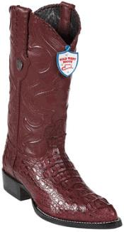 West Burgundy ~ Maroon ~ Wine Color J-Toe caiman ~ World Best Alligator ~ Gator Skin Hornback