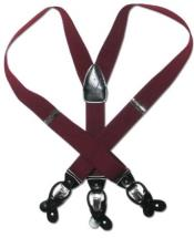 Solid Burgundy ~ Maroon ~ Wine Color Dark Red Leather Suspenders