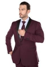Slim Fit Single Breasted Black and Burgundy ~ Wine ~ Maroon