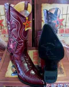 Los Altos Burgundy ~ Maroon ~ Wine Color Genuine Ostrich Leg Western Cowboy Boot (EE)